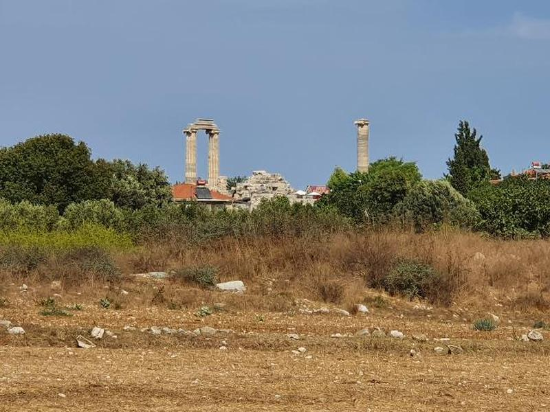 Chapel ruins in the foreground, Temple of Apollo in the background