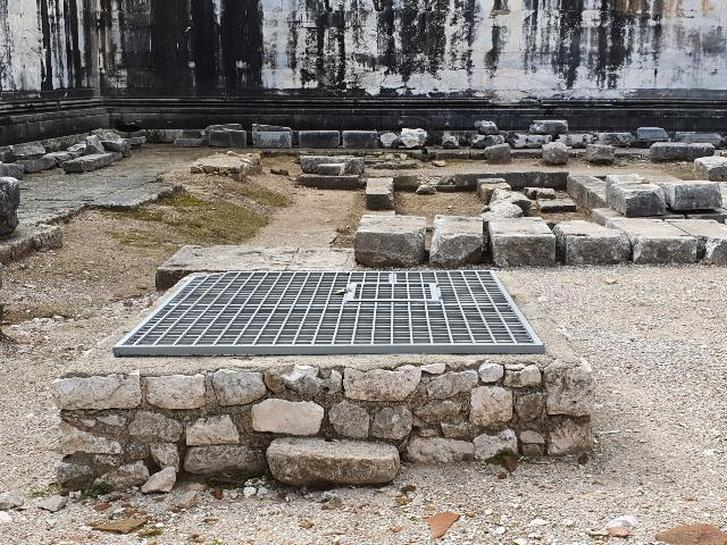 The dry well considered for temporary storage of flood water, Apollo Temple in Didyma