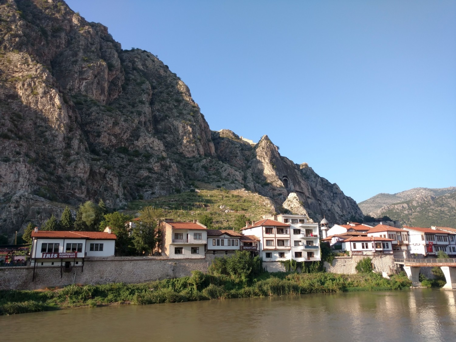View of Amasya with the tombs of Pontic kings in the background