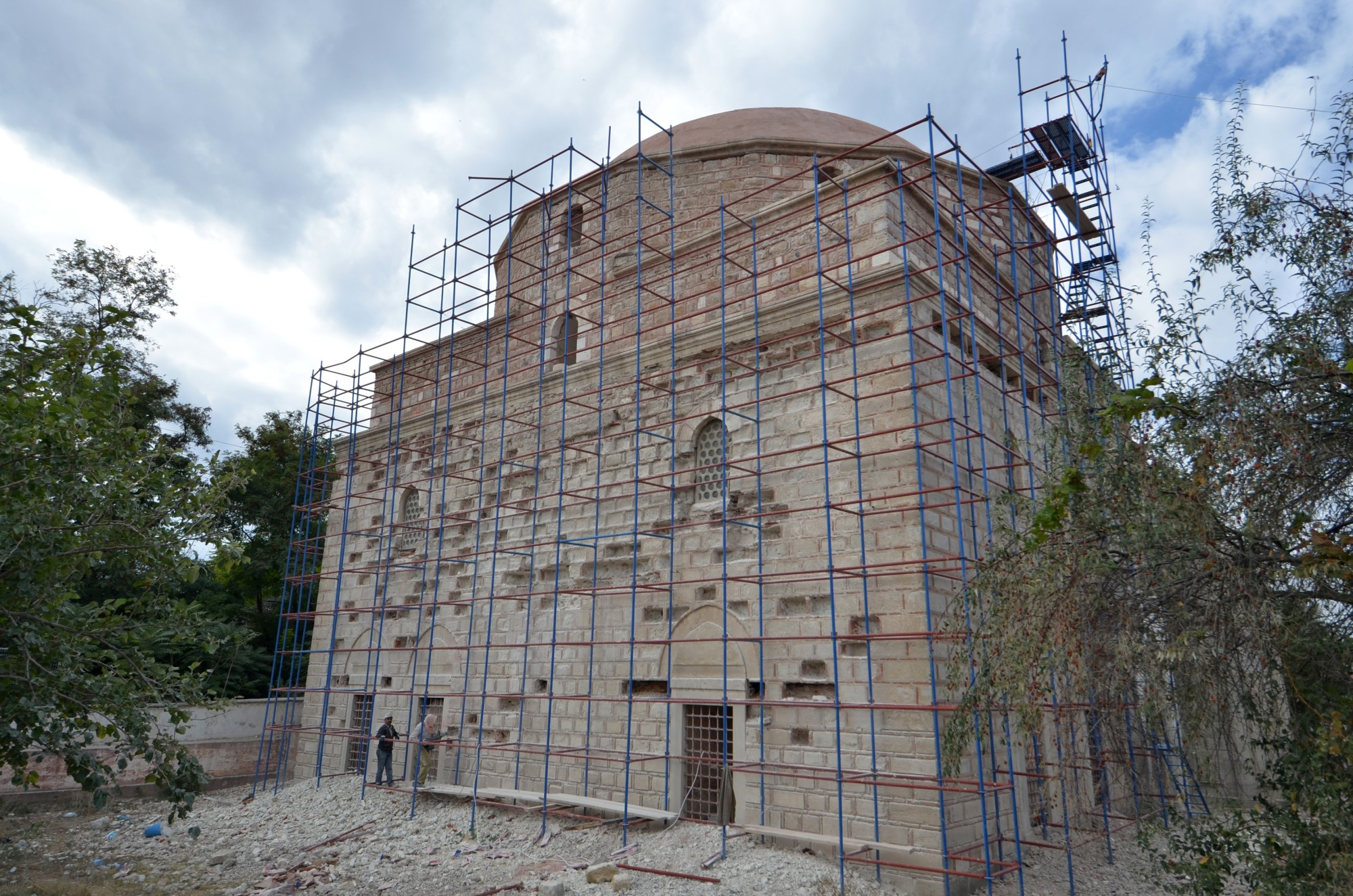 Beylerbeyi Suleyman Pasha Mosque in Edirne during the renovation in 2013