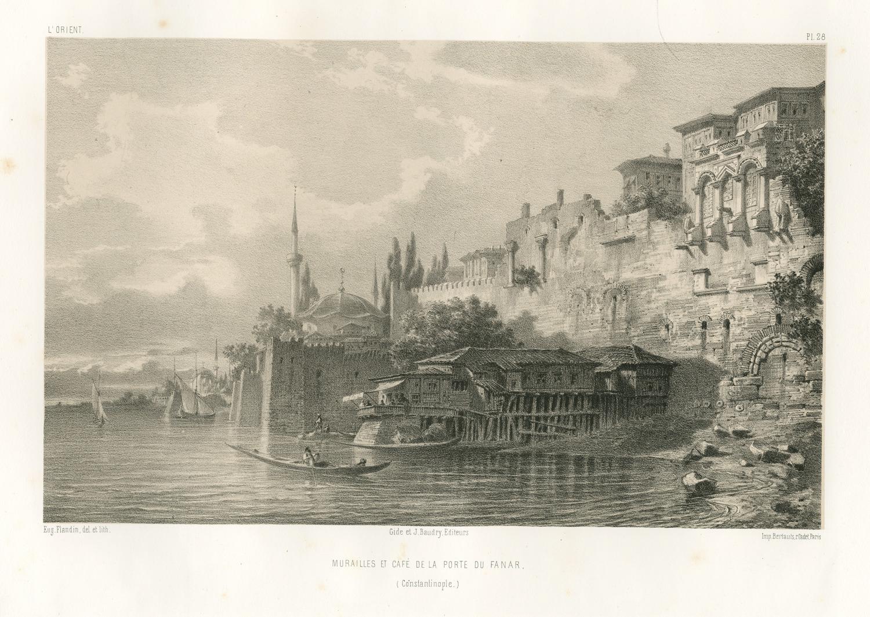 Rycina wykonana przez Eugène Flandina przedstawiająca Pałac Bukoleon