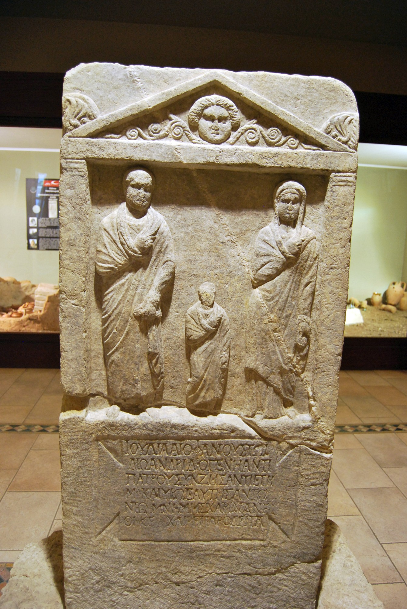 Grave stele from the 1st or the 2nd century CE, found near the Macedonian Tower, now in the Archaeological and Ethnographic Museum in Edirne