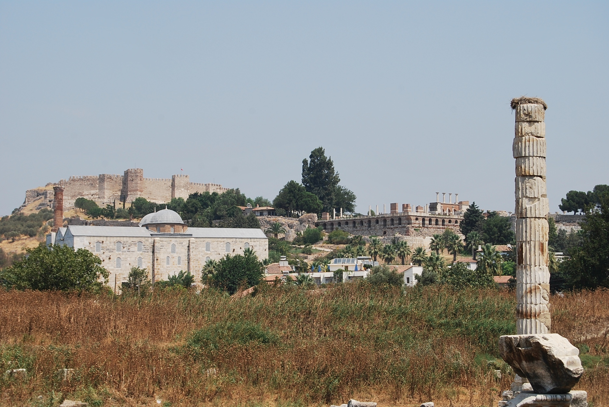 Location of İsa Bey Mosque, with the Artemision in the foreground and the Basilica of St. John in the background