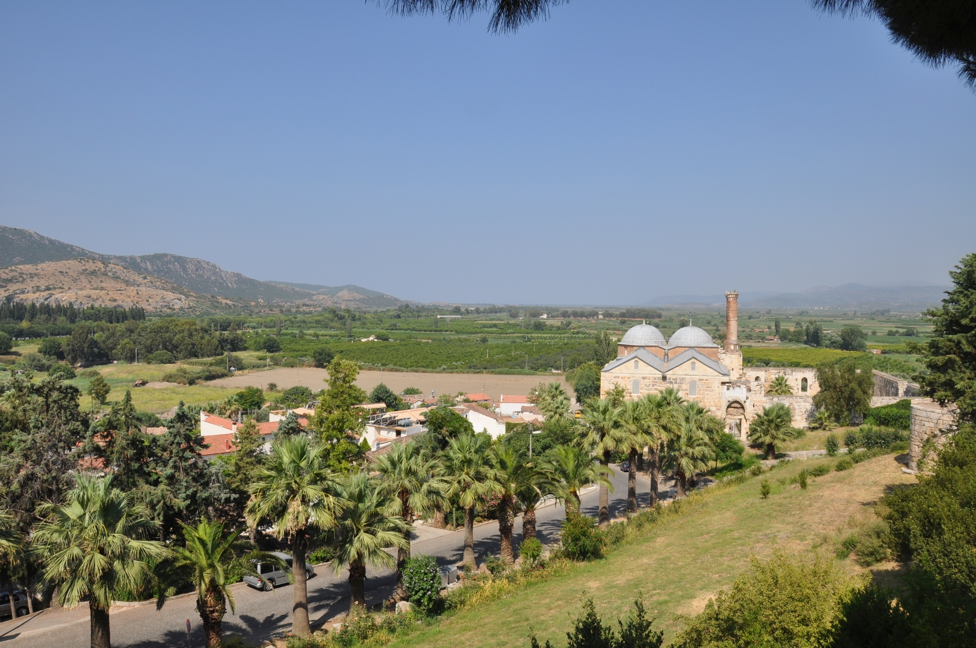 General view of İsa Bey Mosque from the Basilica of St. John