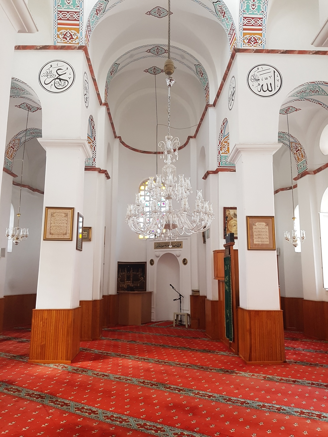 The interior of the Bodrum Mosque - with the assymetrical placement of the mihrab