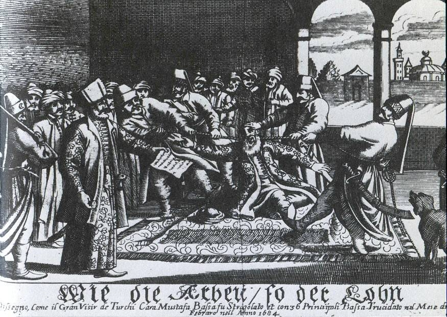 Kara Mustafa Pasha's strangulation by a silk cord on 25 December 1683 [Public Domain]