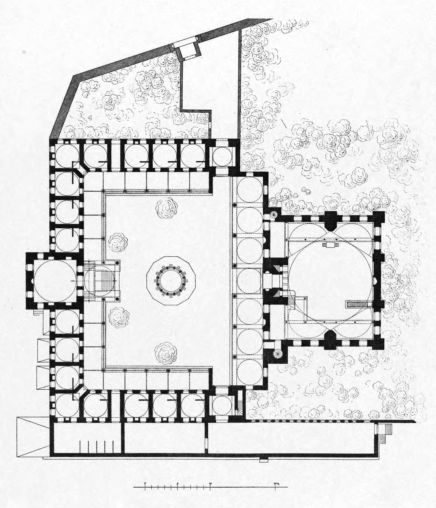 Meczet Sokollu Mehmeda Pasz - plan Corneliusa Gurlitta, Die Baukunst Konstantinopels, Vol. 2, 1912