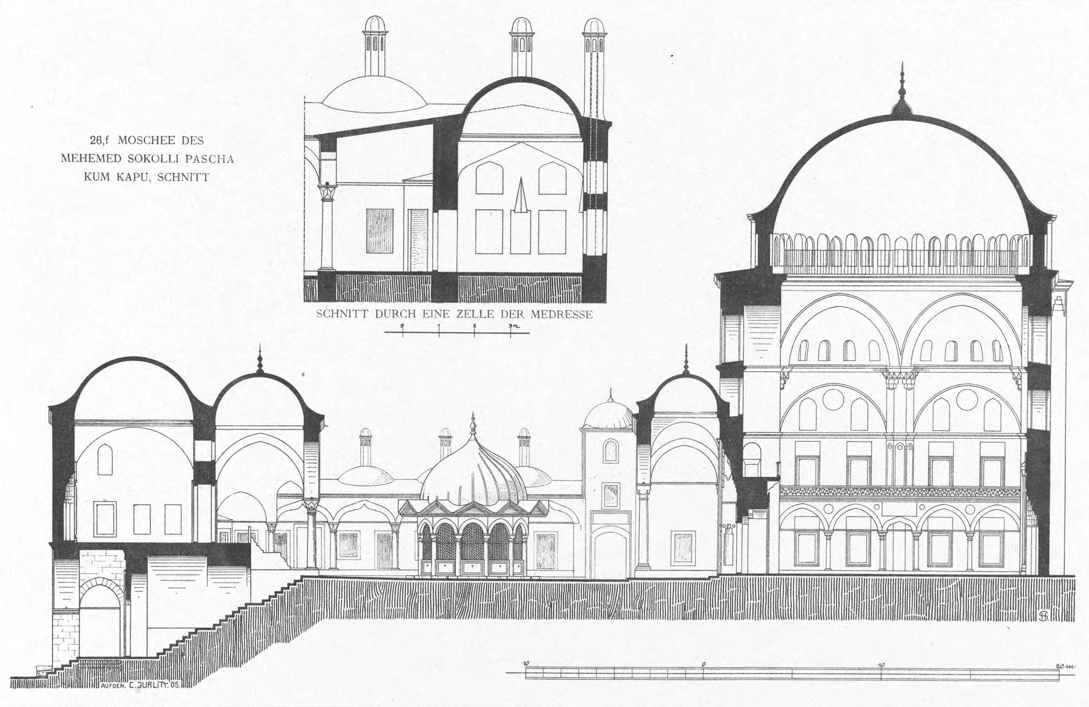 Meczet Sokollu Mehmeda Paszy - przekrój Corneliusa Gurlitta, Die Baukunst Konstantinopels, Vol. 2, 1912