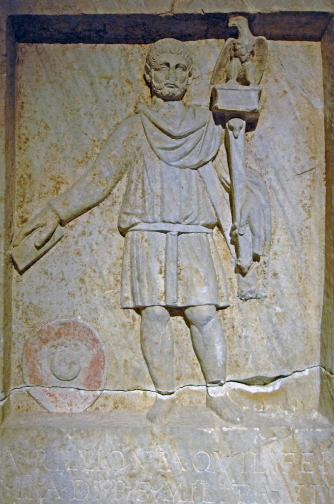 Tombstone of a standard-bearer, discovered within the Forum of Theodosius, Istanbul Archaeological Museum, photo copyright: Dick Osseman