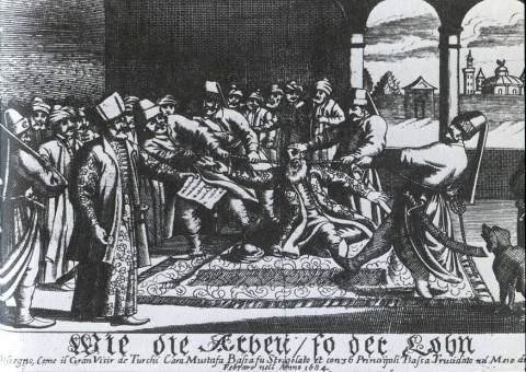 Kara Mustafa Pasha's strangulation by a silk cord on 25 December 1683 [Public Domain]