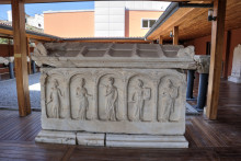 A beautifully decorated sarcophagus in the open courtyard, Ephesus Museum in Selçuk