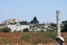 The temple of Artemis, the İsa Bey Mosque, the Basilica of St. John, and the Ayasuluk Fortress in Selçuk