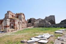 Enez Castle - Hagia Sophia Basilica to the left