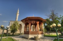 Gazi Mihal Mosque and a wooden ablution fountain in Edirne