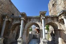 External façade of Hadrian's Gate in Antalya