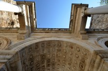 The barrel vault of Hadrian's Gate in Antalya