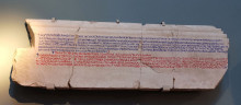 Abgar Inscription, the cast from the Ashmolean Museum, King Abgar's letters are in blue and Jesus' response is in red.