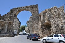 Monumental gate and Vespasian monument in Side