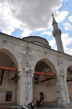 Single minaret of Muradiye Mosque in Edirne