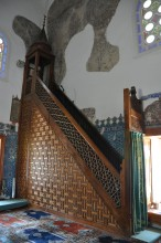 Wooden minbar (a pulpit) of Muradiye Mosque in Edirne