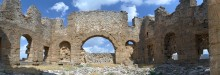 Eastern section of the basilica in Aspendos - panoramic view