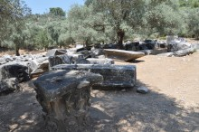 Zeus Lepsynos Temple in Euromos - the debris in front of the structure