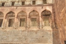 Ishak Pasha Palace - the inner courtyard and the windows of selamlik section