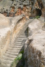 A water cistern with a steep stairway