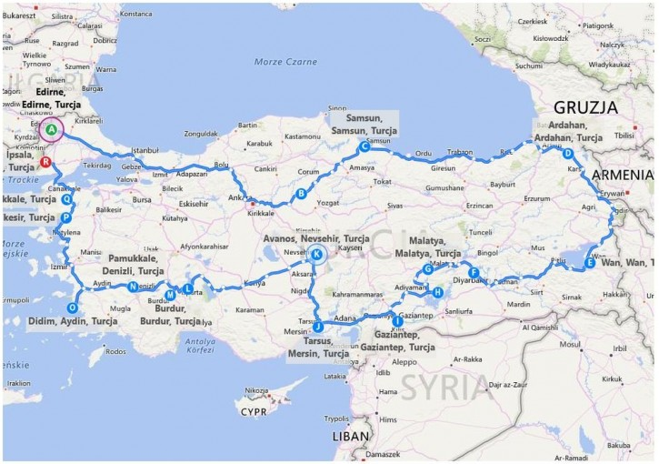 TAN tour 2017 route