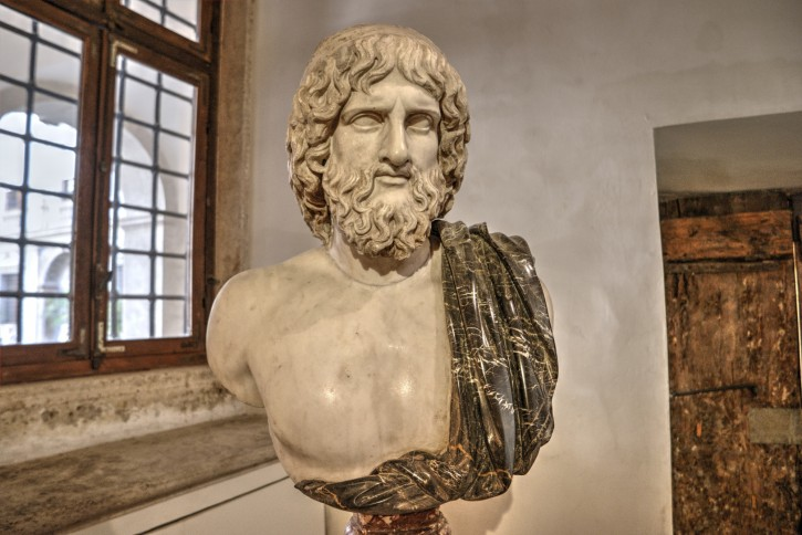 Bust of Hades, Roman copy after a Greek original from the 5th century BCE; the black mantle is a modern addition;  now in Palazzo Altemps Museum in Rome, Italy